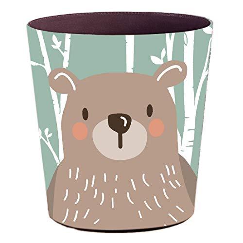 YAKOK - Cubo de Basura para habitación Infantil, 10 L, Piel sintética, diseño de Animales, Ideal para niños y niñas, Ideal para el salón o el Dormitorio