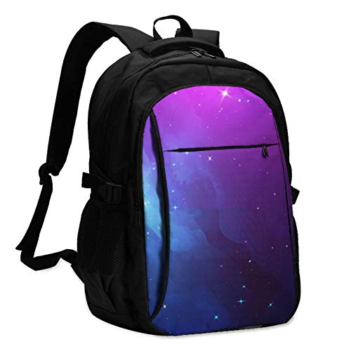 544 Starry Sky Multifunctional Printed Backpack for Adults and Kids USB School Bag