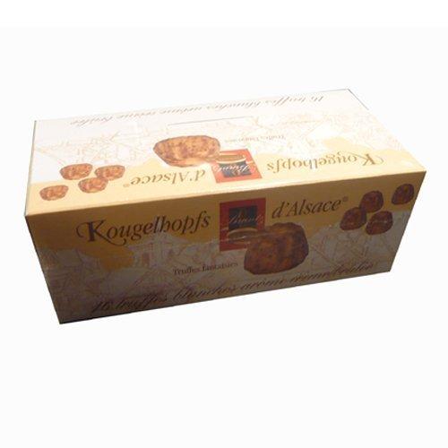 Weiße Trüffel Spezialität mit Crème Brûlée der Chocolaterie Bruntz, im Elsaß, Kougelhopfs d'Alsace, 16 délicieuses truffes blanches crème brûlée, 144g,