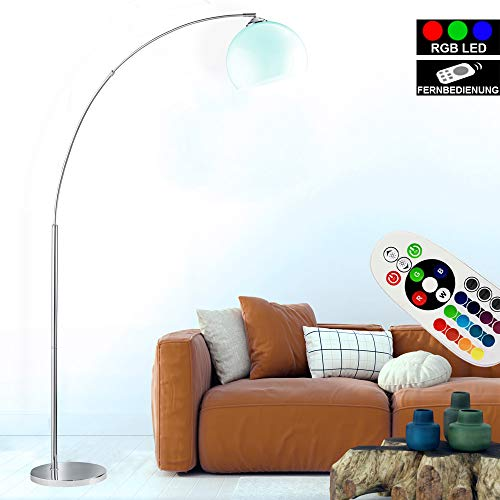 Steh Bogen Lampe dimmbar FERNBEDIENUNG Stand Leuchte Chrom im Set inkl. RGB LED Leuchtmittel