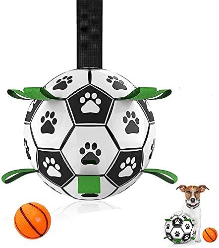 MYPIN Hundefußball mit Haltegriffen, interaktives Hundespielzeug für Tauziehen, Hundeschleppspielzeug, Hundewasserspielzeug, haltbare Hundebälle für kleine und mittlere Hunde