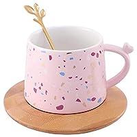 1ピースセラミックマグカップ花印刷水カップスプーン付きホームオフィスセラミックコーヒーカップとソーサーピンク-11X8.5X6.5CM