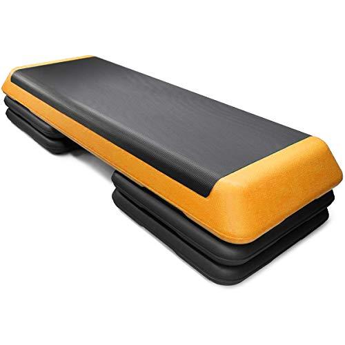 Goplus 43'' Adjustable Fitness Aerobic Step Stepper Platform 4' - 6' - 8' Non-Stick Surface W/Risers (Orange)