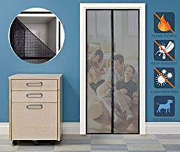 Liveinu Fiberglass Flame Retardant Magnetic Window Screen Mesh Anti Fly Mosquito Insect Curtain with Magnets for Window and Door Full Frame,No Drilling,Hook & Loop Install Black 39