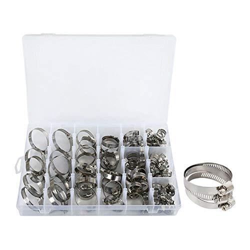 aniceday Abrazadera de manguera de gusano, 100 abrazaderas ajustables para manguera, abrazaderas de acero inoxidable para mangueras flexibles, 8 tamaños (8 – 44 mm)