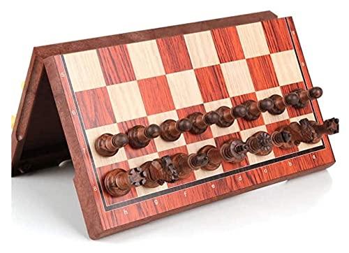 PATAWFFF Ajedrez Juego de ajedrez Ajedrez magnético, Juego de ajedrez de Madera Maciza, Tablero Plegable, Tablero de ajedrez de Almacenamiento, Juego de Rompecabezas de Alto Nivel de alojamiento para