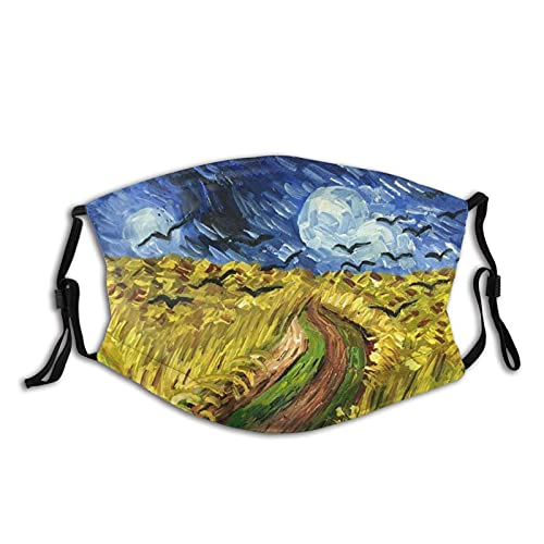 Black Bird And Wheat Field Oil Painting Face Mask Adjustable Washable And Reusable Headscarf Balaclava Adult Mask With 2pcs Filter