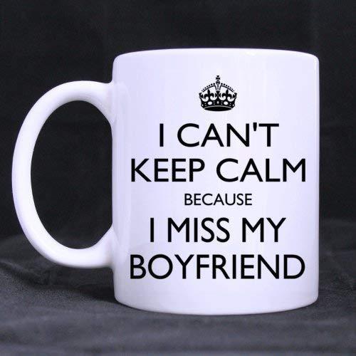 Mattanch Romántico No Puedo Mantener la Calma Porque extraño a mi Novio Taza de café Blanca de cerámica (11 onzas) Taza de té - Regalo Personalizado para cumpleaños, Navidad y Año Nuevo