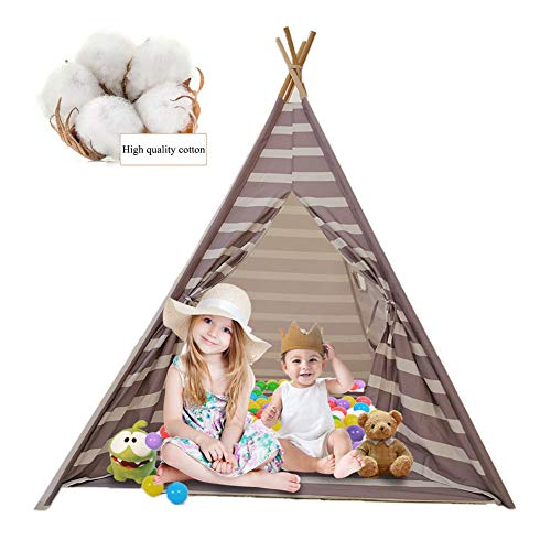 MXYPF Teepee Tent for Kids - Indian Canvas Tents, Cotton Breathable Anti-mosquito Gray Stripe Playhouse for Girls Boys Indoor Outdoor