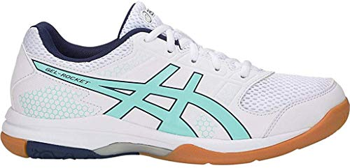 ASICS Gel-Rocket 8 Women's Volleyball Shoe, White/ICY Morning, 10 B US
