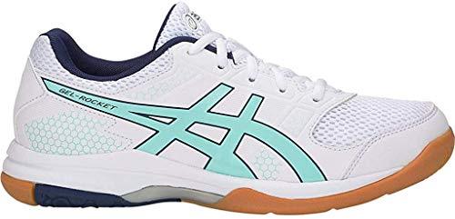 ASICS Zapato de voleibol Gel-Rocket 8 para mujer, blanco (Blanco/Mañana helada), 43.5 EU