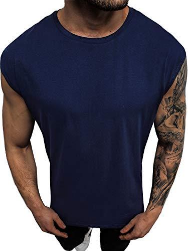 OZONEE Herren Tank Top Tanktop Tankshirt Ärmellos Bodybuilding Shirt Unterhemd T-Shirt Muskelshirt Achselshirt Ärmellose Training Gym Sport Fitness Freizeit Rundhals O/1265Z DUNKELBLAU M