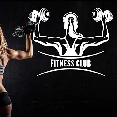 Muursticker Auto Gym Fitness Club Naam Sticker Meisje Dumbbell Decal Lichaam-Bouwen Posters Vinyl Muurstickers Decor Gym Sticker 58X73Cm
