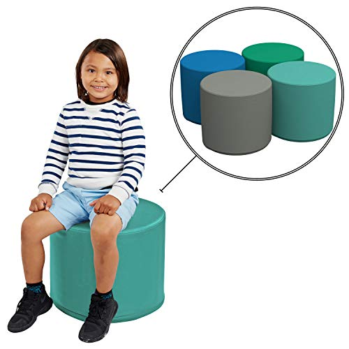 FDP SoftScape 18' Round Ottoman, Collaborative Flexible Seating for Kids, Teens, Adults, Furniture for Classrooms, Offices and Home, Standard 16' H, (4-Piece Set) - Contemporary