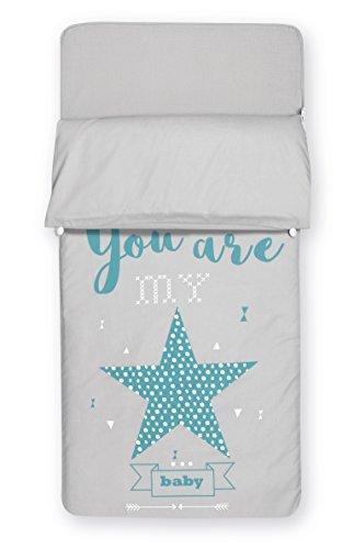 Pirulos Saco Nórdico con Funda de Almohada para Cuna de 60x120cm All My Star/Saco Nórdico con Cremallera para Cuna, Color Azul
