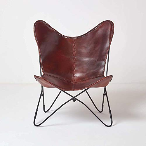 HOMESCAPES Dark Brown Leather Butterfly Chair Vintage Style Retro Armchair with Black Steel Hairpin Legs 100% Real Leather Cowhide Modern BKF Sling Chair Accent Chair Seat, 88 cm Tall