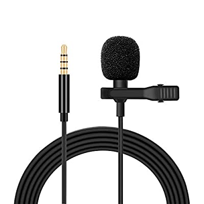 Clip on Lavalier Microphone, 3.5 mm Professional Omnidirectional Condenser Microphone, Lavalier Lapel Microphone Perfect for Recording Interview Video Podcast Phone Camera