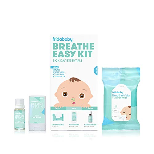 Breathe Easy Kit Sick Day Essentials by FridaBaby - Natural Vapor Wipes, Organic Vapor Rub + Organic Vapor Drops, White (Health and Beauty)