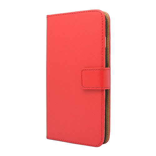 Apple iPhone Genuine Leather Case, Premium Leather Wallet Case with [Kickstand] [Card Slots] [Magnetic Closure] Flip Notebook Cover Case for (iPhone 5 / 5s / Se 2016 Red)