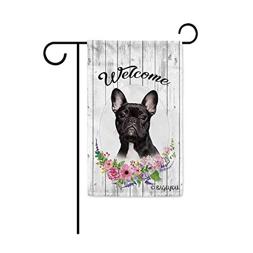 BAGEYOU Welcome Spring Summer Flowers Cute Dog Frenchie Decorative Garden Flag Lovely Puppy Floral Seasonal Home Decor Banner for Ourside 12.5X18 Inch Print Double Sided