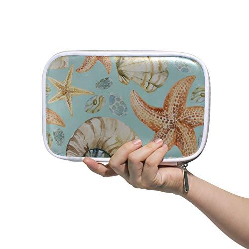 Beauty Gift Bags Hand Drawn Beautiful Seashell Portable Pencil Case Travel Toiletry Bag Women Multifunctional Mens Beauty Bag For Men Women