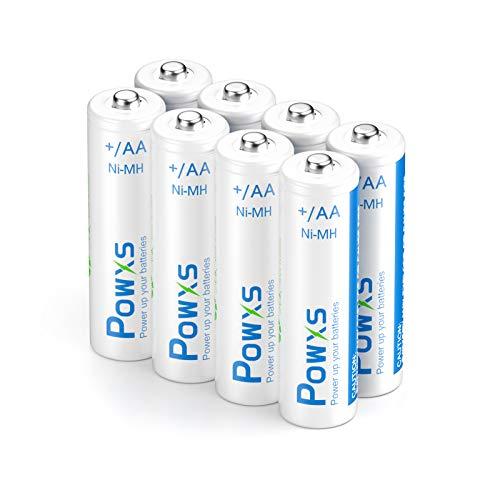 POWXS 2000mAh Akku aa Geringe Selbstentladung, 1200 Zyklen Wiederaufladbare AA Batterien 1.2v NiHM Akkus (8 Stück)