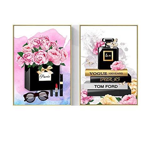 HNZK Moderne Vogue Plakate Und Kunstdrucke Paris ParfüM Rose Mode Lippenstift Wand Bilder Leinwand GemäLde GemäLde MäDchen Zimmer Home Wandbild 40x60cmx2 / Ungerahmt
