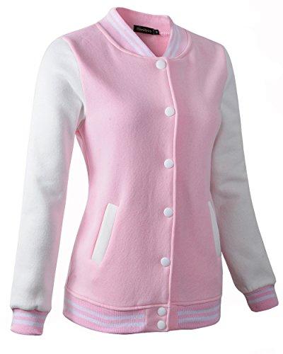 Women Varsity Baseball Jacket Casual Sweatshirt (6808 Pink,US:XS/Tag M)