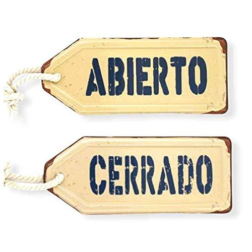 Crack Hogar Chapa Metálica Modelo Reversible - 11,5x27,5x0,2 cm - Cartel Vintage Ideal para Decorar Paredes y Puertas - Diseños Variados - Placa Decorativa Fácil de Colgar
