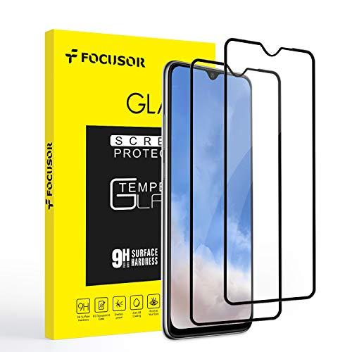 Focusor Screen Protector voor OnePlus 7T, [2 Pack] [Geen Bubbles] [Eenvoudige installatie] HD gehard glas voor OnePlus 7T [levenslange vervangende garantie] - Zwart