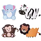 Cupcake Toppers Wrappers 36 Pieces Animal Cupcake Toppers for Kids Baby Shower Birthday Party Cake Decoration Supplies