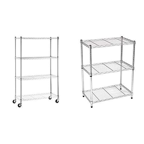 AmazonBasics 4-Shelf Shelving Storage Unit on 3'' Wheel Casters, Chrome Silver & 3-Shelf Adjustable, Heavy Duty Storage Shelving Unit (250 lbs per shelf), Steel Wire Rack, Chrome (23.3L x 13.4W x 30H)