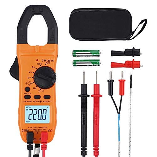 VinTeam Clamp Meter Amp Meter Digital TRMS Multimeter 6000 Counts 600A with Auto-ranging DC AC Current AC DC Voltage NCV Continuity Capacitance Resistance Frequency Diode Hz Test