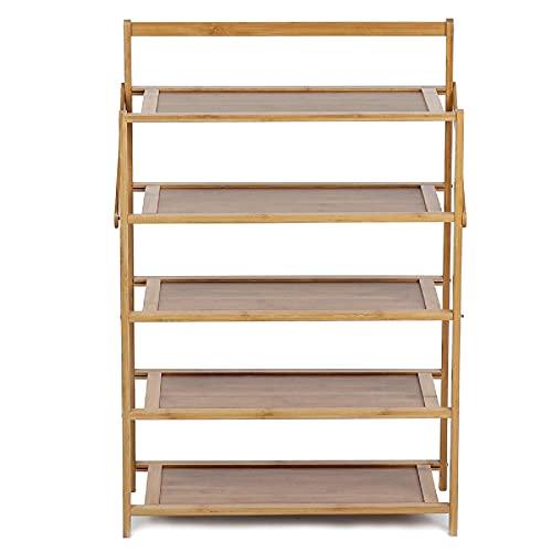 Lzcaure Zapatero de 5 capas plegable de madera de pasillo para sala de estar o baño (tamaño: 50 x 23,8 x 75 cm; color: madera)