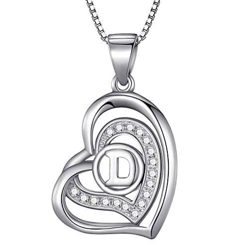Morella® Damen Halskette Herz Buchstabe D 925 Silber rhodiniert mit Zirkoniasteinen weiß 46 cm