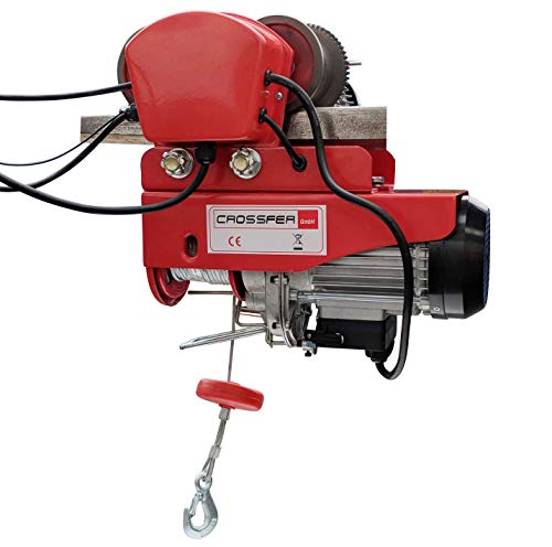 CROSSFER Elektrische Seilwinde mit Laufkatze 990 kg Seilzug mit Fahrwerk 12 Meter Stahlseil 230V