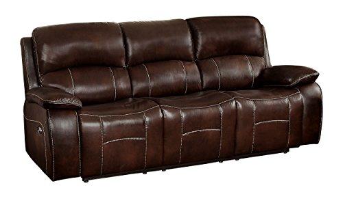 Homelegance Mahala Power Double Recliner Sofa Top Grain Leather Match Vinyl, Brown (8200BRW-3PW)