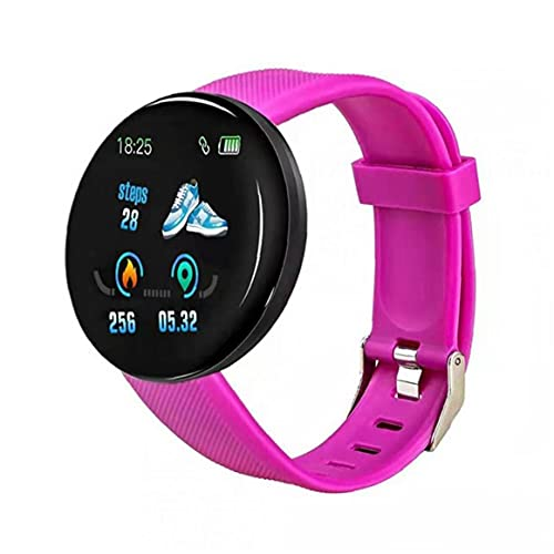 Eaarliyam Smart Watch Band Fitness Watch Waterproof Tracker Smart Watch D18 Smart Reloj Redondo Corazón Mida para Hombres Mujeres Niños Púrpura