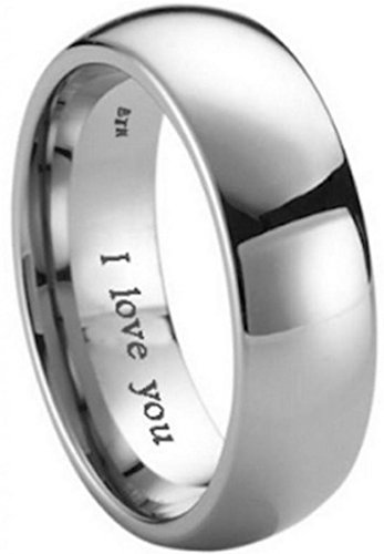 BestToHave Mens Titanium Wedding Engagement Engraved with I Love You Band Ring-Unisex - Size T