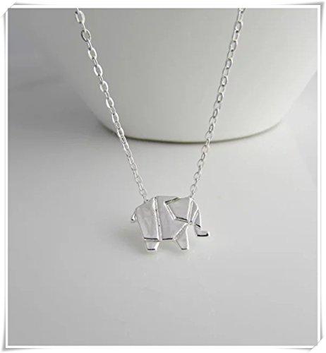 Collar de Elefante de Origami no Ver Largo Tiempo, Collar de Elefante, Collar de Animales Salvajes, Collar de Animales, joyería de Elefante