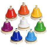 Facmogu Campanas de escritorio, 8 notas, campanas de mano de metal diatónicas, campanas de música arco iris, instrumento de percusión de aprendizaje musical, regalo de cumpleaños para niños, Toddles