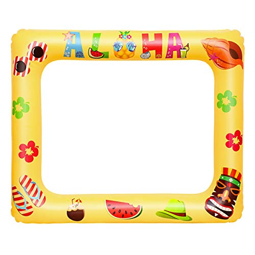 Amosfun Gonfiabile Selfie Frame Hawaii Aloha Party Photo Booth Puntelli Blow Up Selfie Cornice Estate Rifornimenti del Partito per Il Compleanno Pool Party Supplies