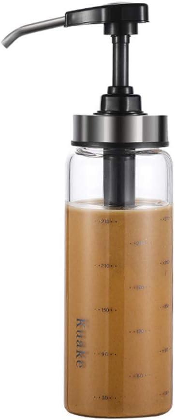 DOITOOL Long Beach Mall 300ml Popular Sauce Pump Dispenser Honey Glass Syrup with Bottle