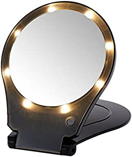 Floxite 5X Magnifying 360 Degree Lighted Home & Travel Mirror Black