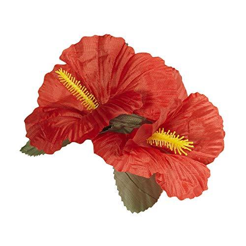 Widmann 1845R - Haarspange, mit 2 roten Hibiskus Blumen, Haarclip, Haarschmuck, Hawaii, Mottoparty, Karneval
