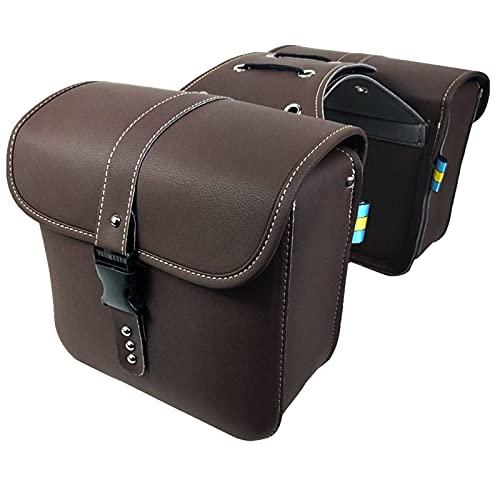 Bolsas de Montar de la Motocicleta PU Cuero Cafe Racer Side Tool Bag Bolsa de Almacenamiento de Equipaje Brown Universal para / / (Color : A)