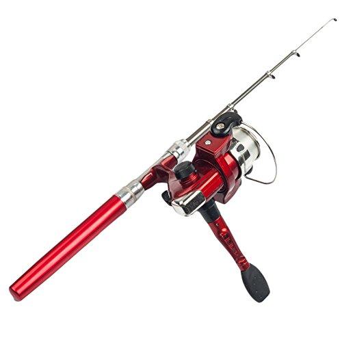 Chendongdong, mini penna telescopica portatile in alluminio tascabile con canna da pesca e mulinello, Rosso