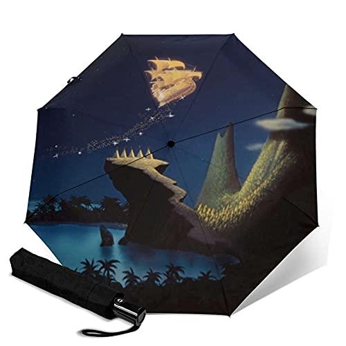 Taschenschirme Peter Pan Automatic Portable Trifold Umbrella Compact Portable Folding Windbreak Waterproof Anti-UV Umbrellas