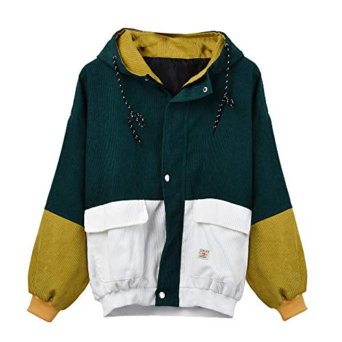 Coats Damen,Kimodo Mode Frauen Langarm Cord Patchwork Oversize Jacke Windbreaker Mantel Frühling Herbst Winter Stilvoll Bequem Outwear (Grün, XXL)