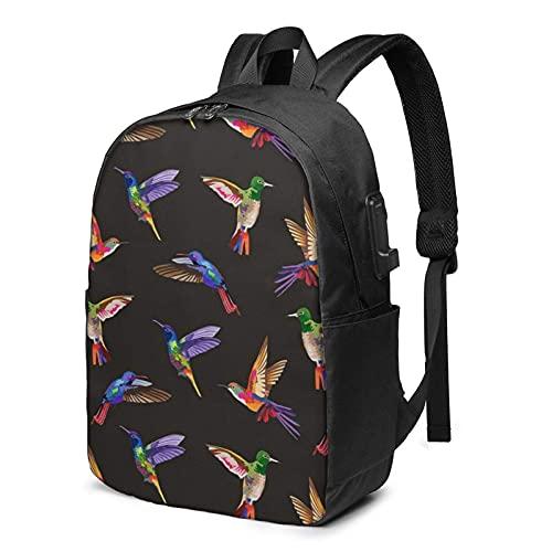XCNGG Humming Birds Business Laptop School Bookbag Mochila de Viaje con Puerto de Carga USB y Puerto para Auriculares de 17 Pulgadas